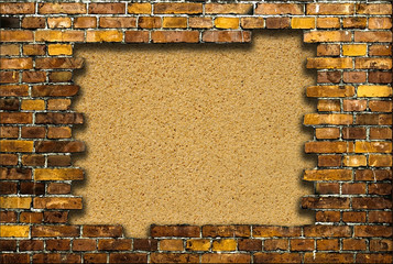 brick frame with background of sand