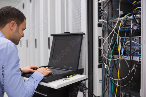 Man working with servers