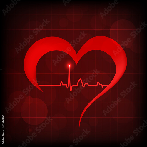 Heart and heartbeat symbol on reflective surface. EPS 10.