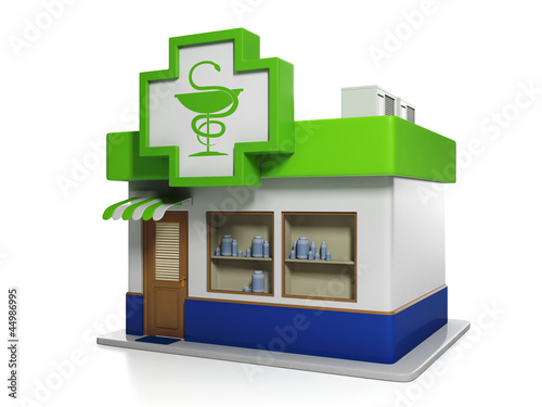 3d illustration: Medicine. Apothecary Building