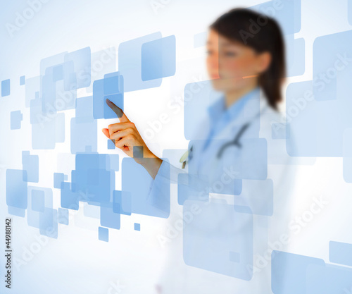 Nurse touching on touchscreen