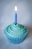 Pretty Blue Cupcake with Blue Candle on top
