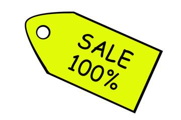 Sale pricetag, percent 100
