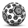 Kugel, Eiskristalle, Kristall, Schwarz, Weiß, abstrakt, Flocke