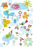Childlike sketch background poster