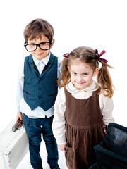 Children love couple in retro style