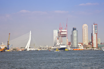 Skyline with water of Dutch city Rotterdam
