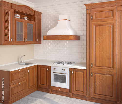 Wooden classic kitchen.