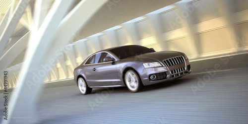 rolling luxury sport sedan car 3d illustration