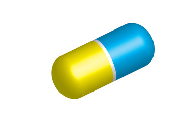 Pill vector - yellow and blue