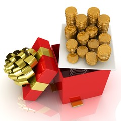 3d gift box with coins