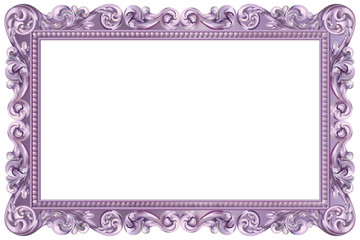 Cadre baroque rectangulaire violet