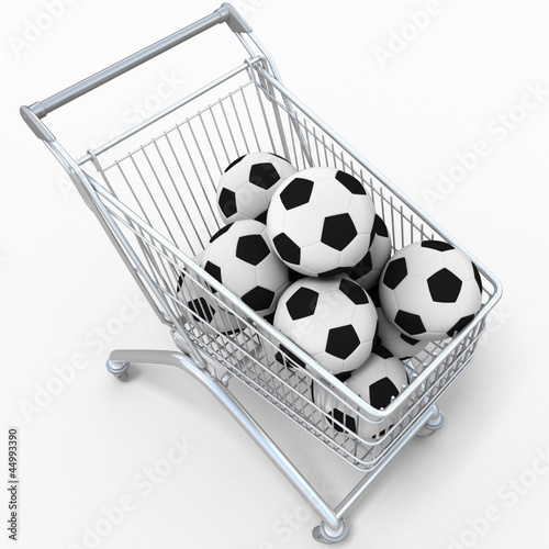 3D shopping cart with football balls