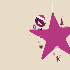 Purple Santa Bird On Red Star & Symbols Beige