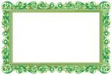 Cadre baroque rectangulaire vert