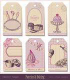 Fototapety set of 6 pastries-themed gift tags