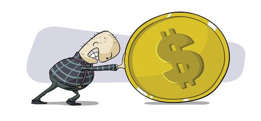 a man pushing dollar coin