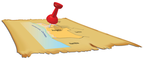 Map Angola with pin