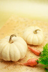 Miniature pumpkin with carrots