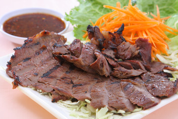 Thai Food Grilled Beef with hot spicy sauce