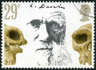 GREAT BRITAIN - 1982: shows Charles Darwin and Skulls, Death Cen