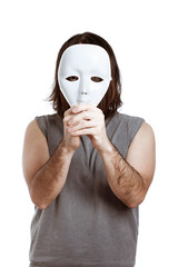 Scary man with white mask
