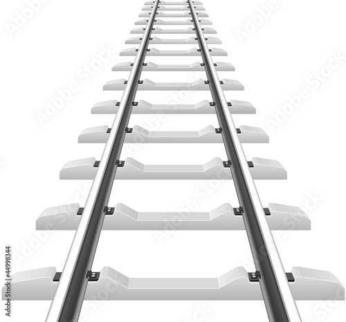 rails with concrete sleepers vector illustration
