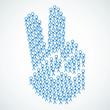 Konzept, Strichmännchen, Gruppe, Handzeichen, Victory