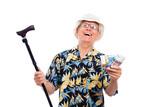 Happy wealthy senior man poster