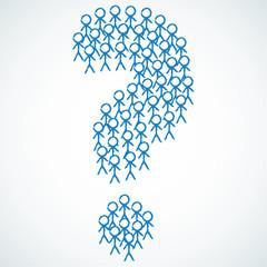 Konzept, Strichmännchen, Gruppe, Fragezeichen