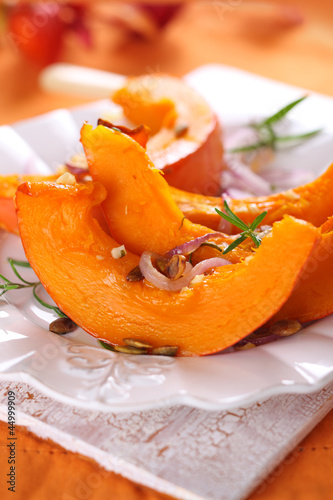 roast pumpkin with garlic, olive oil and rosemary.