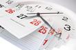 Leinwanddruck Bild - Calendar Pages and Clock