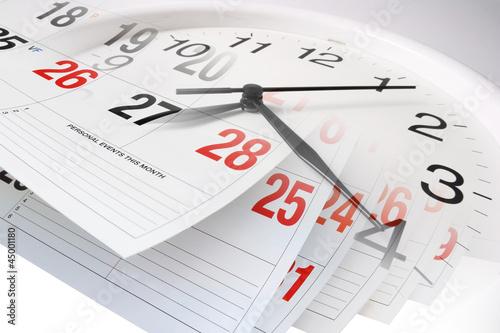 Leinwanddruck Bild Calendar Pages and Clock