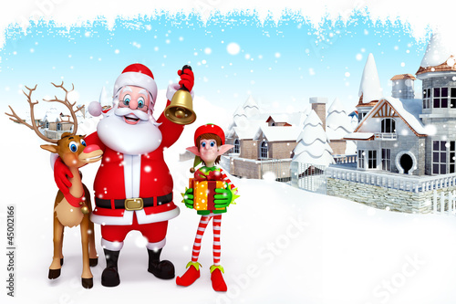 santa with reindeer with elves near building