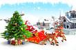 santa with christmas tree near buildings