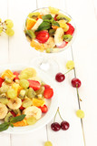 plate and glass bowl with  fresh fruits salad and berries