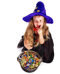 Witch  little girl with candy.
