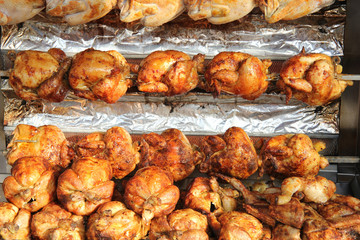 Roasted chicken on the grill