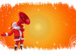 santa with loudspeaker on orange background