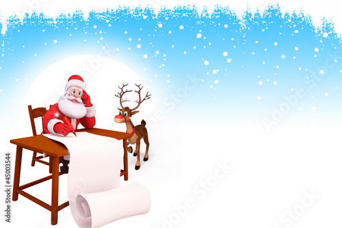 santa with table and reindeer with long list