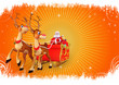 santa claus with sleigh on orange background