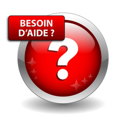 "Bouton Web ""BESOIN D'AIDE?"" (assistance support service clients)"
