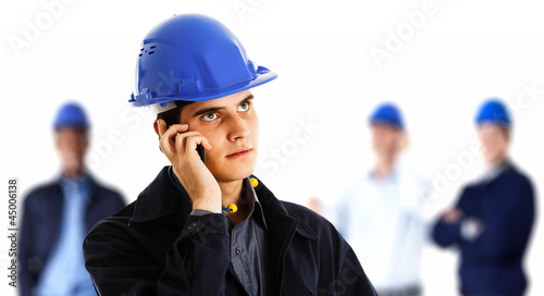 Engineer talking on the phone