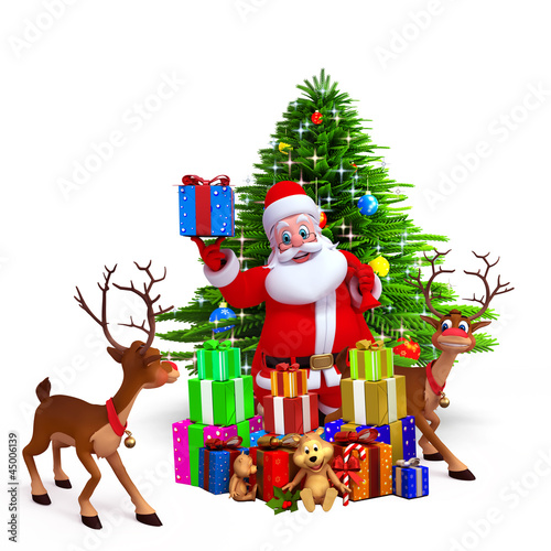 santa showing gift box