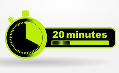icône 20 minutes sur chronomêtre vert et noir