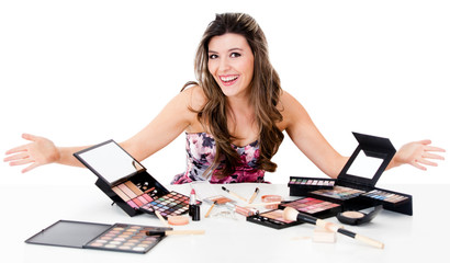 Woman with a bunch of make up