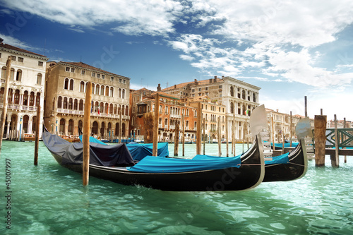 gondolas in Venice, Italy. - 45007997