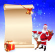 santa with reindeer pointing towards sign
