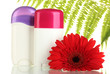 deodorants with flower and green leaf isolated on white