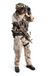 Soldier with binoculars against white background. Full body.